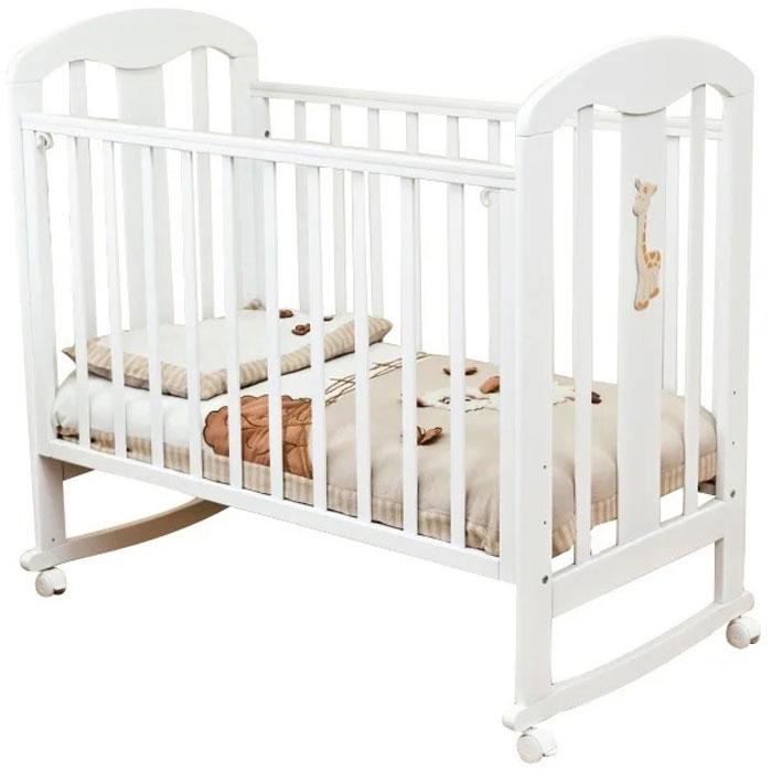 Кровать детская Красная Звезда Вилона С 703 ЗН белый, накладка Жираф