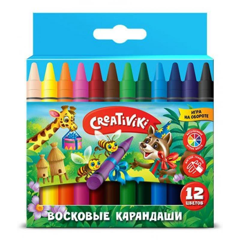 Карандаши Восковые Creativiki Круглые, 12 Цветов