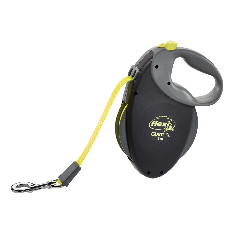 Рулетка-поводок для собак FLEXI Giant XL Neon  ремень, черная, для пород от 50 кг, 8 м