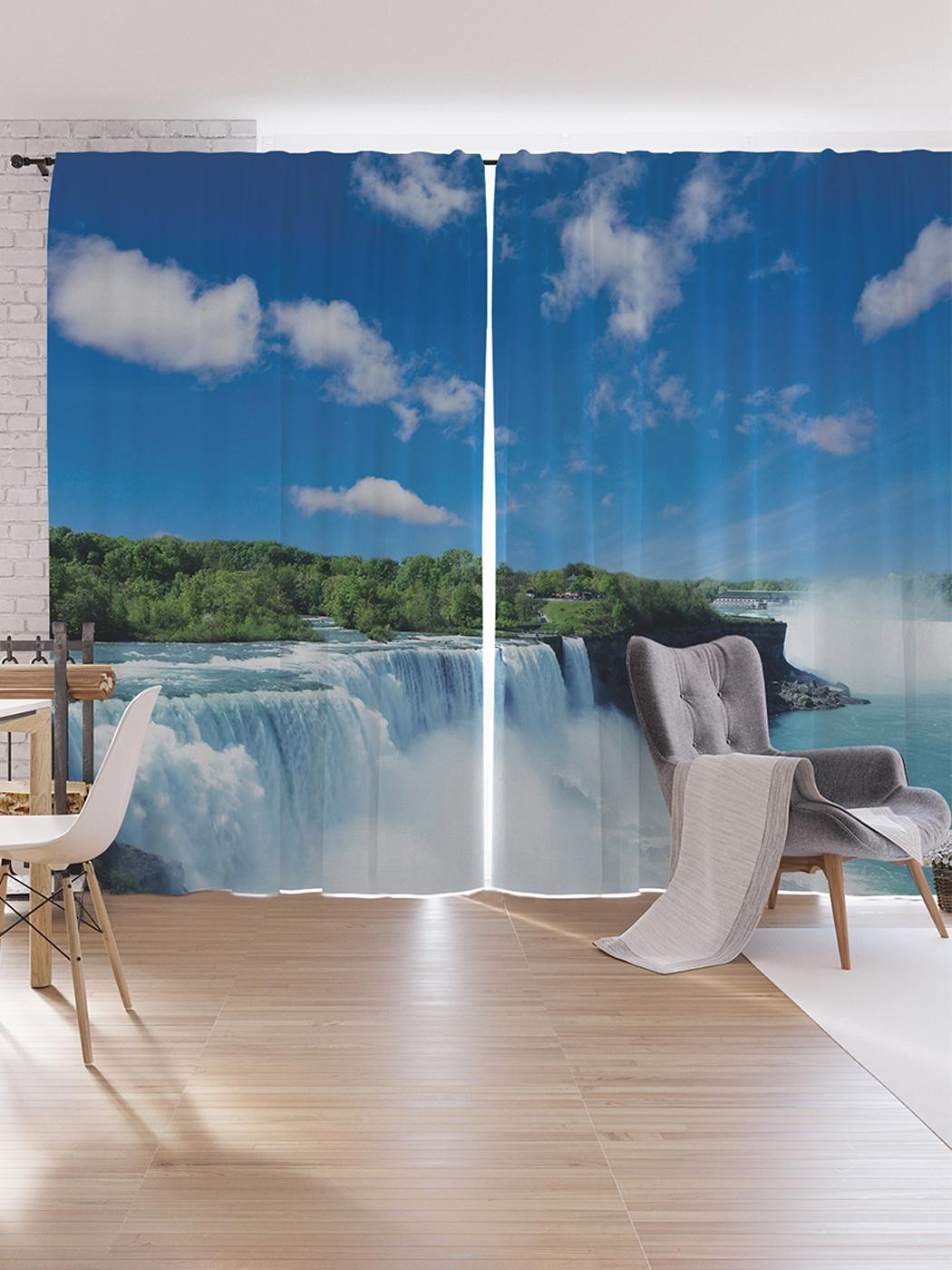 Шторы под лён JoyArty «Водопадный парк», серия Oxford DeLux, 340х265 см фото