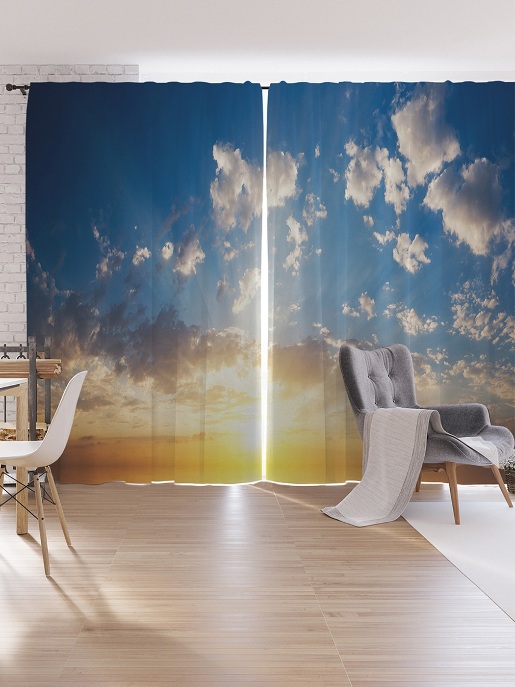 Шторы под лён JoyArty «Солнечный закат», серия Oxford DeLux, 340х265 см фото