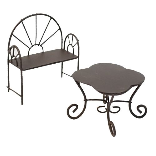 Мебель для куклы ScrapBerry\'s металлические мини столик-ромашка и кресло, коричневые