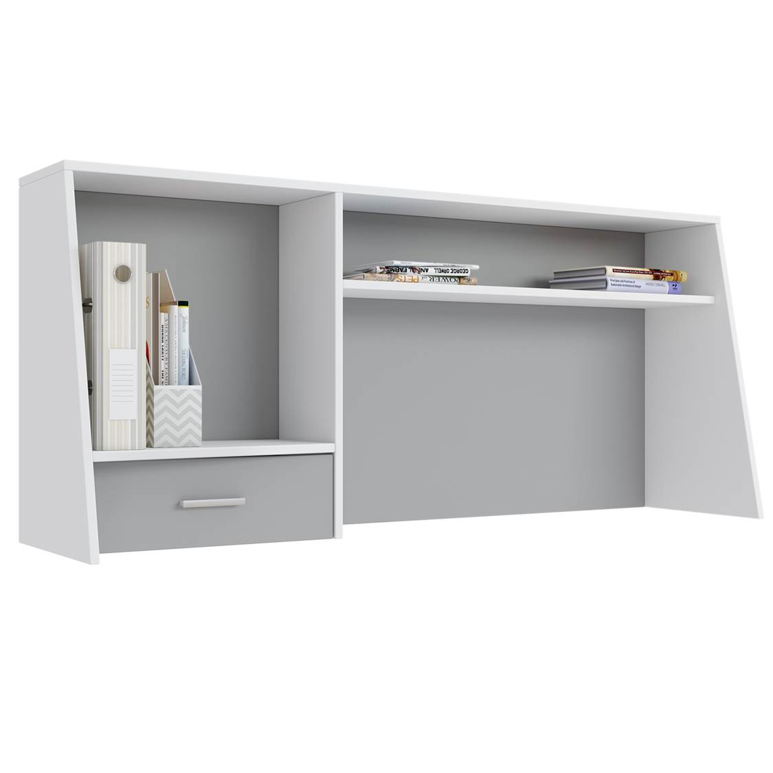 Надстройка для cтола Polini kids Aviv 1450 с ящиком и полкой, белый/серый