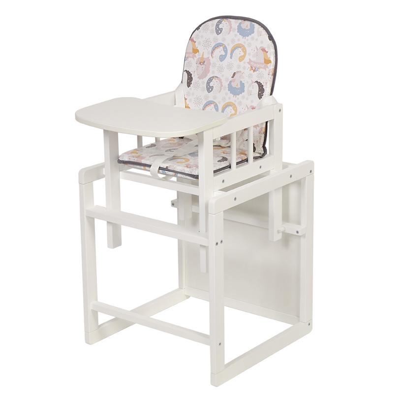 Купить Стул детский трансформируемый Polini kids 255 Волшебный Единорог, белый, Стульчики для кормления