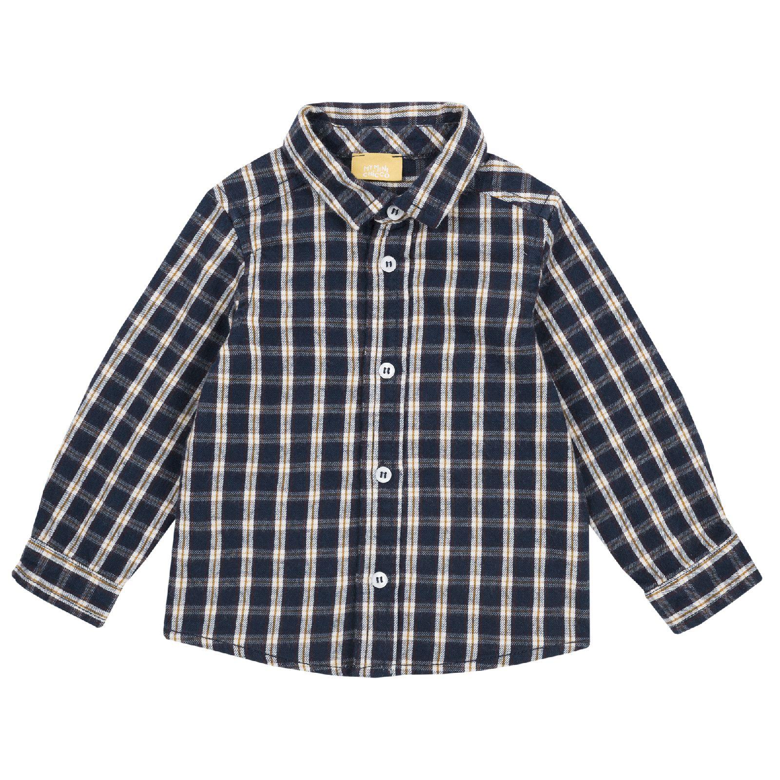 Рубашка Chicco в клетку синяя, размер 98