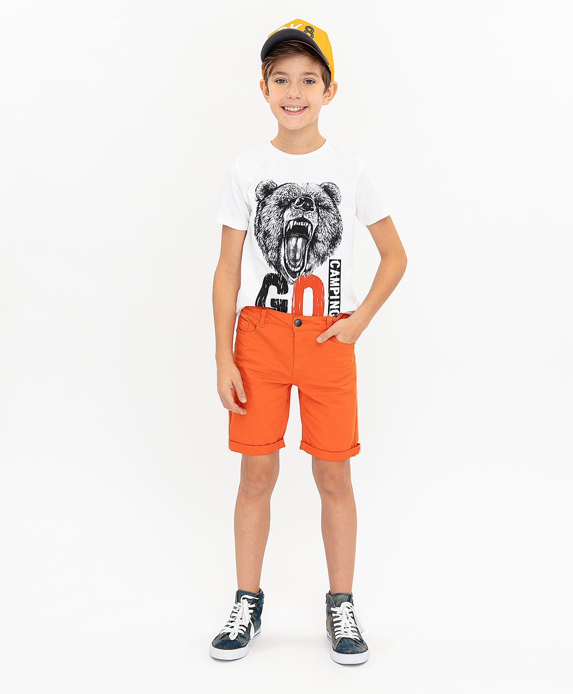 Шорты для мальчиков Button Blue, цв. оранжевый, р-р 122 фото