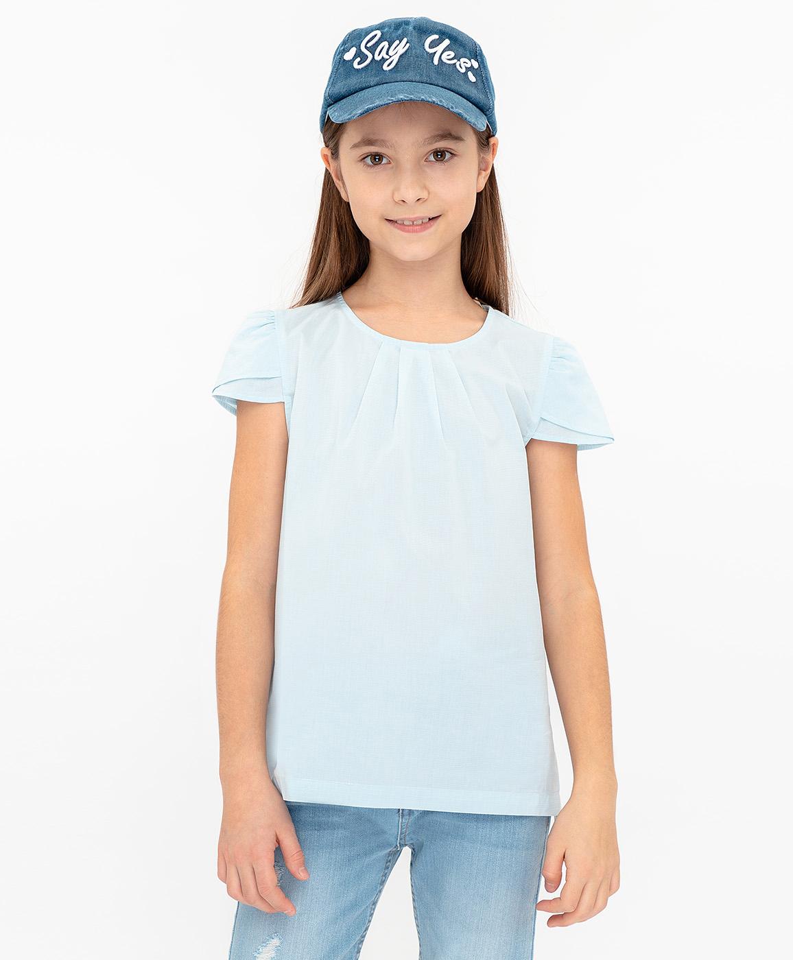 Блузка для девочек Button Blue, цв. голубой, р-р 128