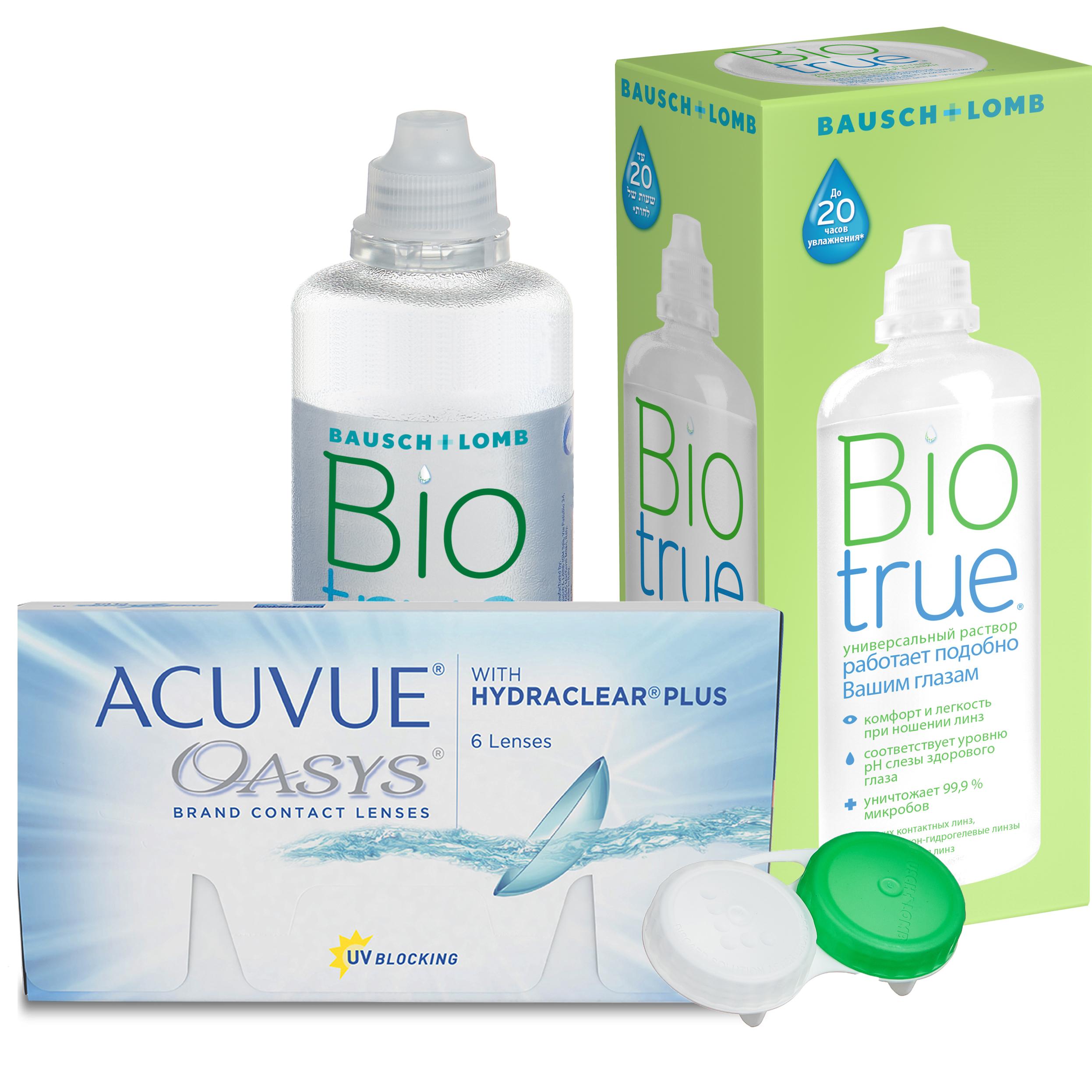 Купить Oasys with Hydraclear Plus 6 линз + Biotrue, Контактные линзы Acuvue Oasys with Hydraclear Plus 6 линз R 8.8 +4, 00 + Biotrue 300 мл