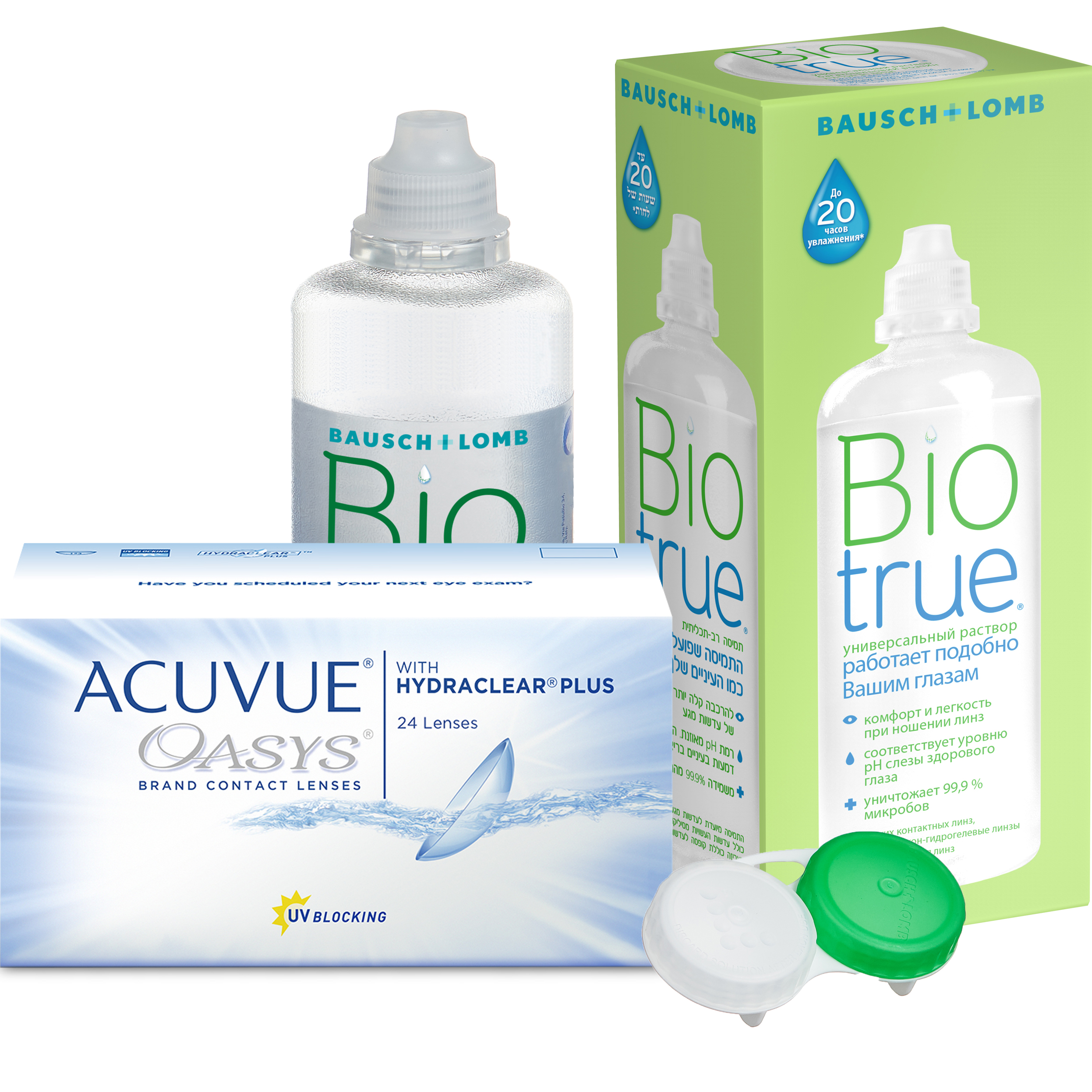 Купить Oasys with Hydraclear Plus 24 линзы + Biotrue, Контактные линзы Acuvue Oasys with Hydraclear Plus 24 линзы R 8.8 -3, 75 + Biotrue 300 мл