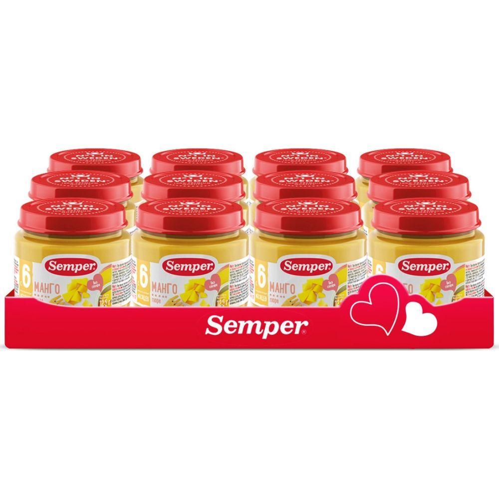 Пюре фруктовое Semper Манго, 12x125 г