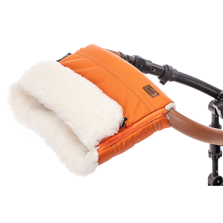 Купить Муфта меховая для коляски Nuovita Alpino Lux Bianco оранжевая,