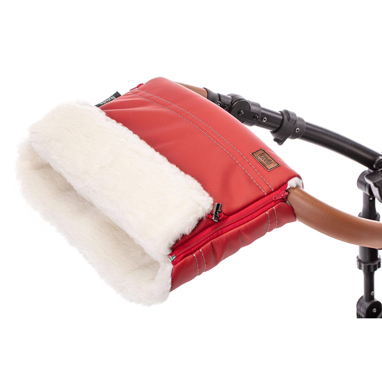 Купить Муфта меховая для коляски Nuovita Alpino Lux Bianco красная,