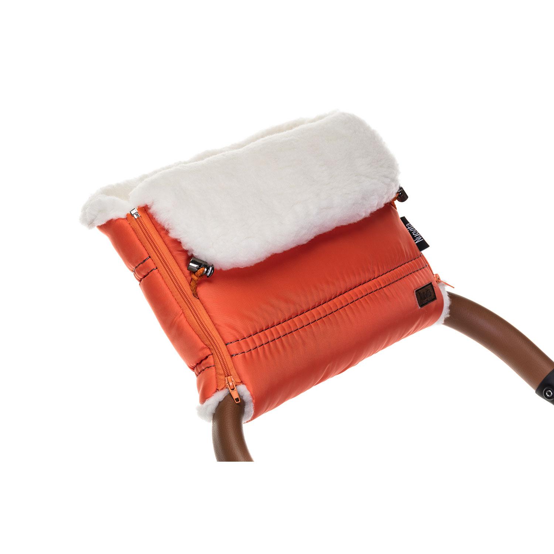 Купить Муфта меховая для коляски Nuovita Alpino Bianco оранжевая,
