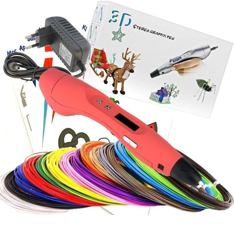 Ручка 3D EASY REAL RP400A (ABS 150 м + трафареты) красный.