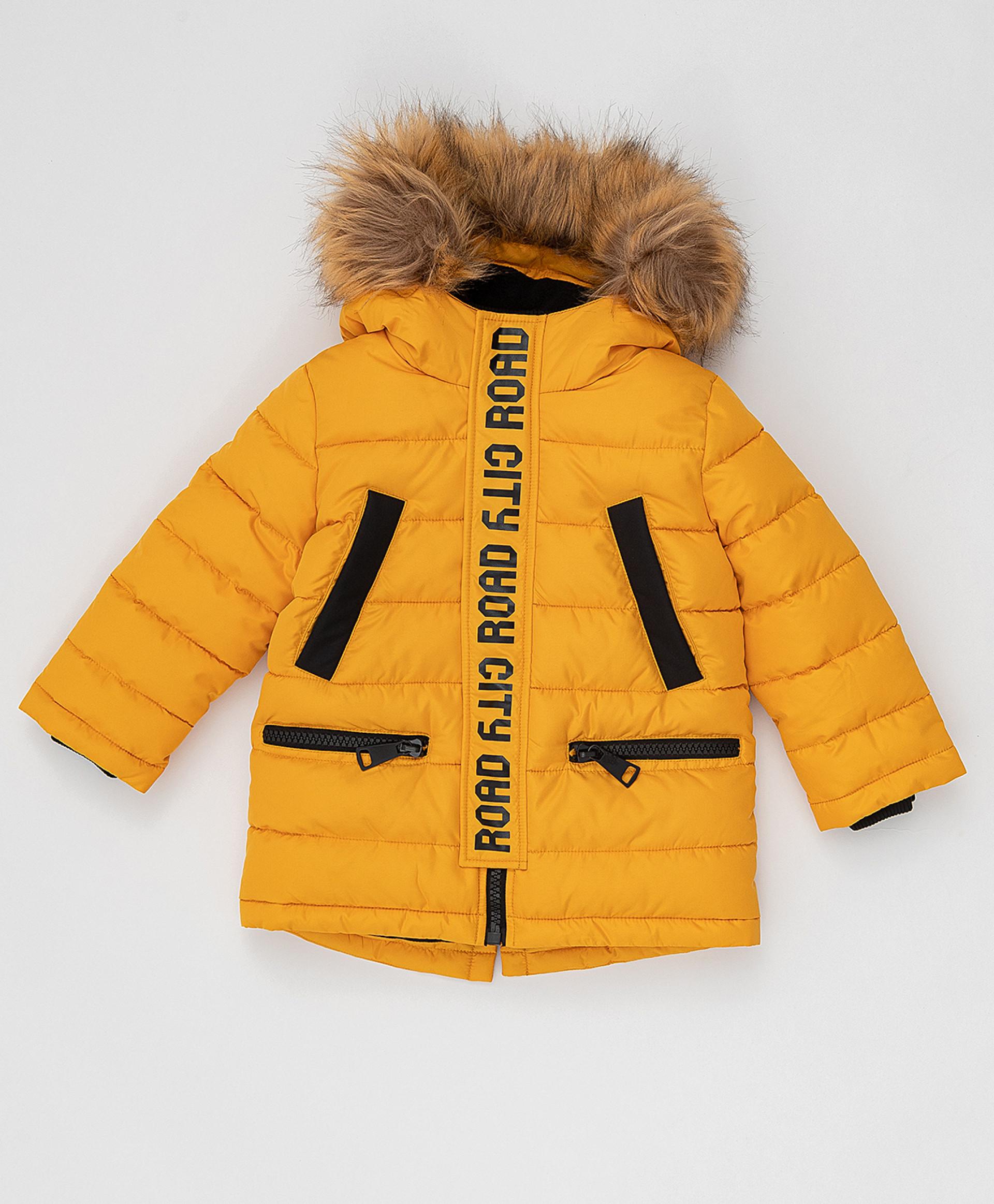 Зимнее пальто горчичного цвета Button Blue 220BBBJC45010400,