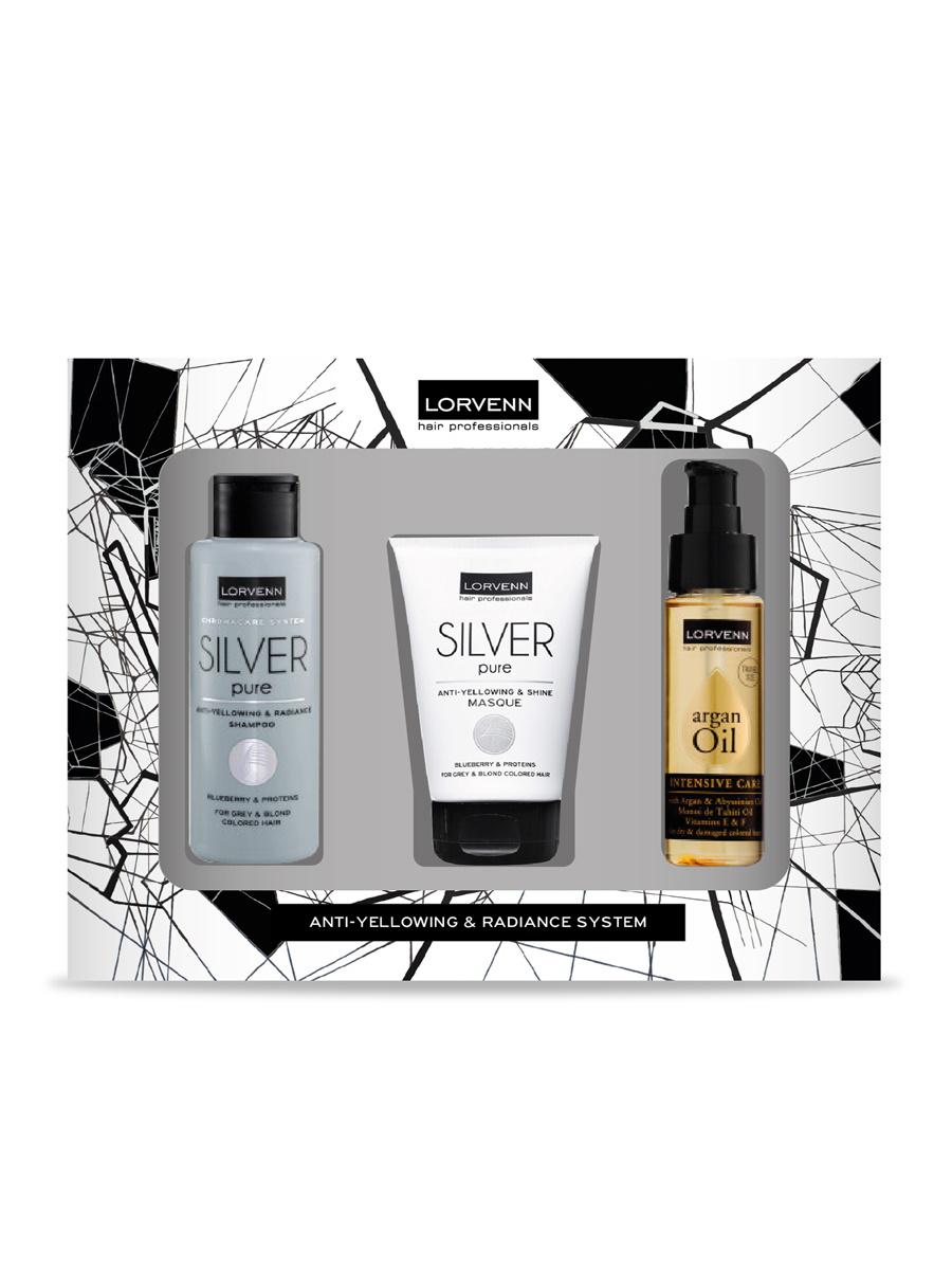 Купить Набор SILVER PURE для ухода за волосами LORVENN HAIR PROFESSIONALS 100+100+50 мл