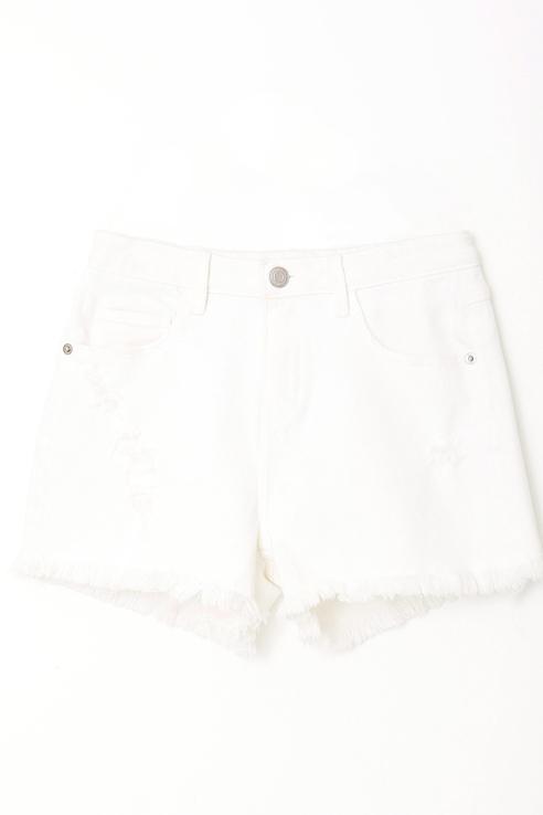 Купить Джинсовые шорты с необработанными краями Sela Белый 152 1805051414,