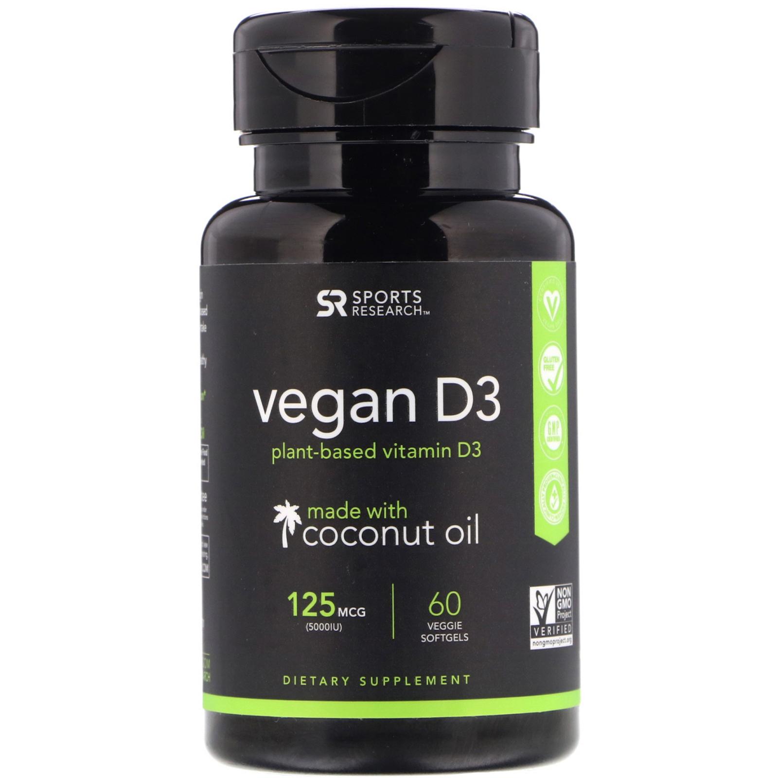 Купить Вегетарианский Витамин D3 Sports Research 5000 МЕ капсулы 60 шт.