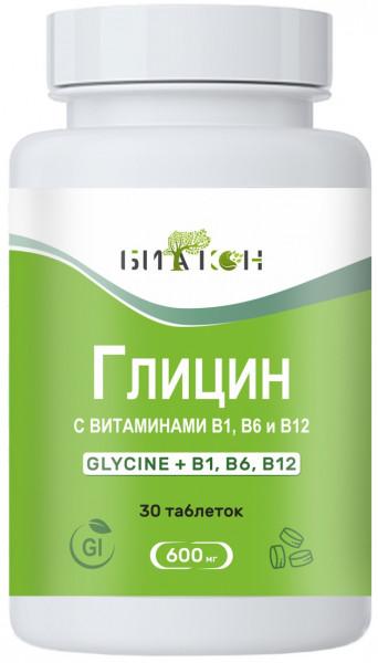 Купить Глицин с витаминами В1, В6, В12, Глицин с витаминами В1 В6 В12 Биакон 600 мг таблетки 30 шт.