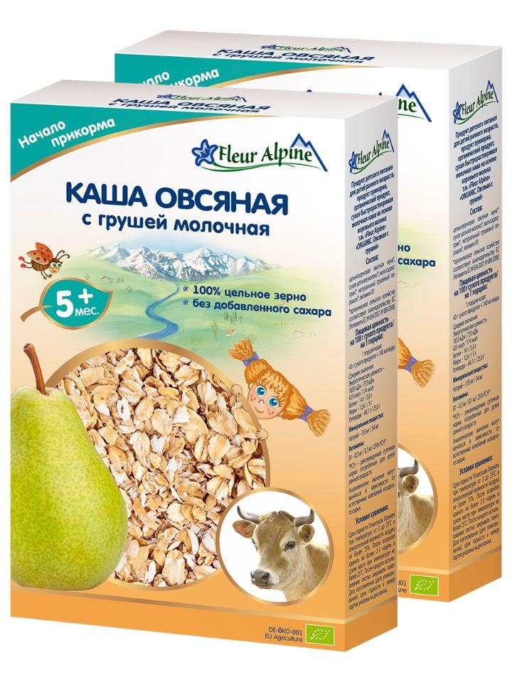 Купить Каша молочная детская ОВСЯНАЯ С ГРУШЕЙ, с 5 месяцев, 2 шт. по 200 г, Fleur Alpine,