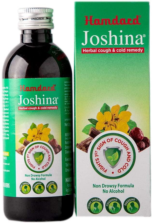 Купить Аюрведический травяной сироп при бронхо-легочных заболеваниях, Сироп от кашля Joshina Hamdard на травах аюрведы; при бронхите; кашле 100 мл