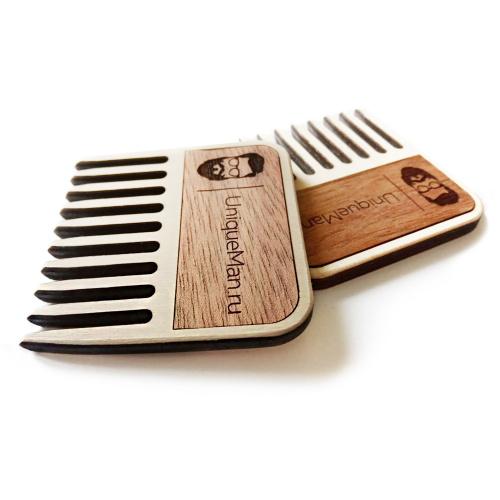 Гребень для усов и бороды Uniqueman деревянный