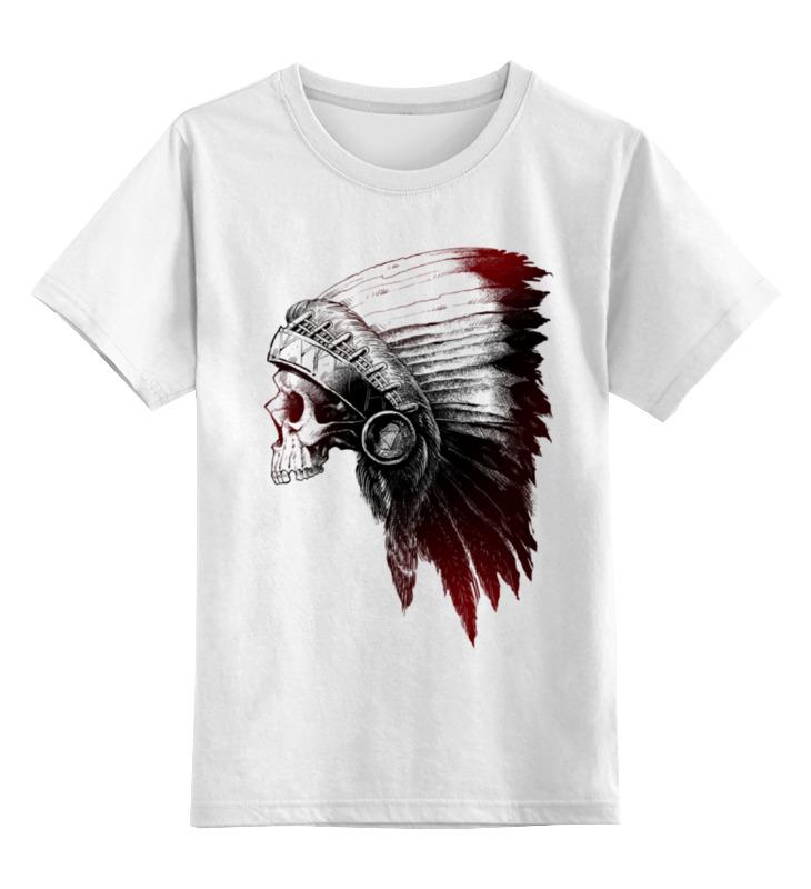 Детская футболка Printio Череп индейца цв.белый р.140 0000000772446 по цене 790