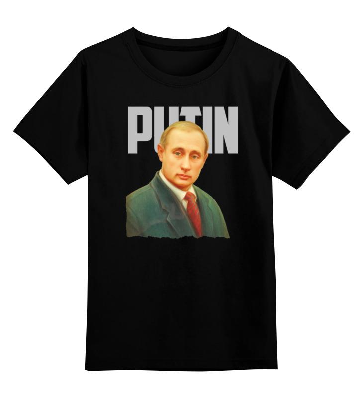 Купить 0000000770780, Детская футболка Printio Putin цв.черный р.140,