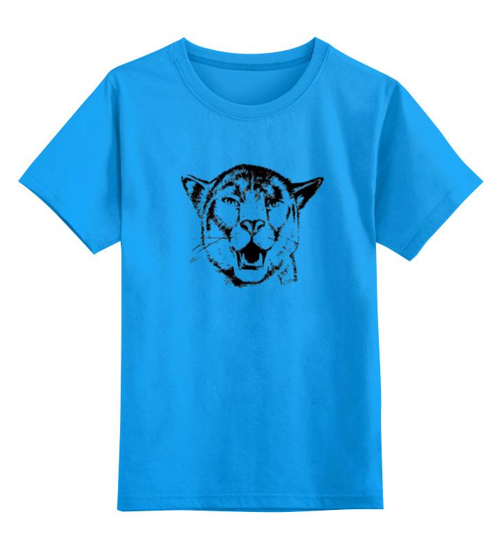 Купить 0000000753340, Детская футболка Printio Пантера цв.голубой р.152,