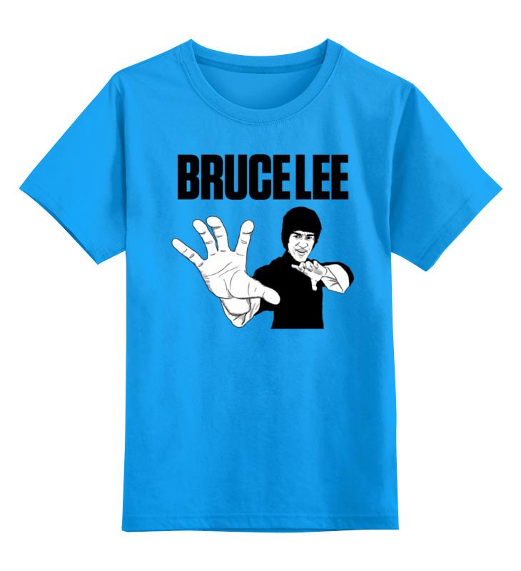 Купить 0000000762518, Детская футболка Printio Bruce lee цв.голубой р.164,