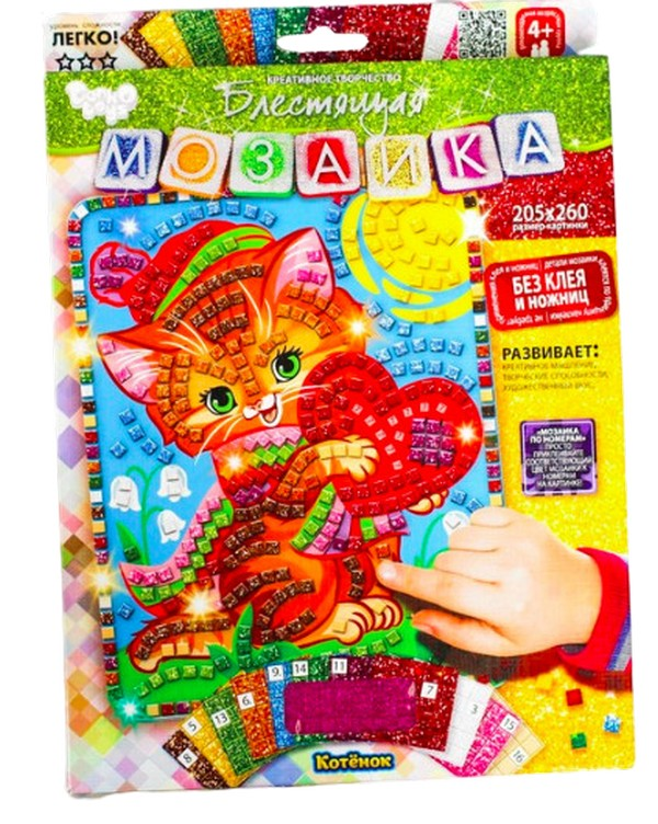Купить Набор для творчества Danko Toys Мозаика Котенок БМ-02-02,
