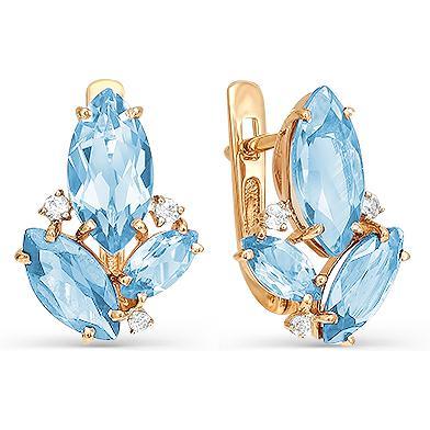 Серьги женские из золота Magic Stones 02-1-410-0101-011, фианит/топаз