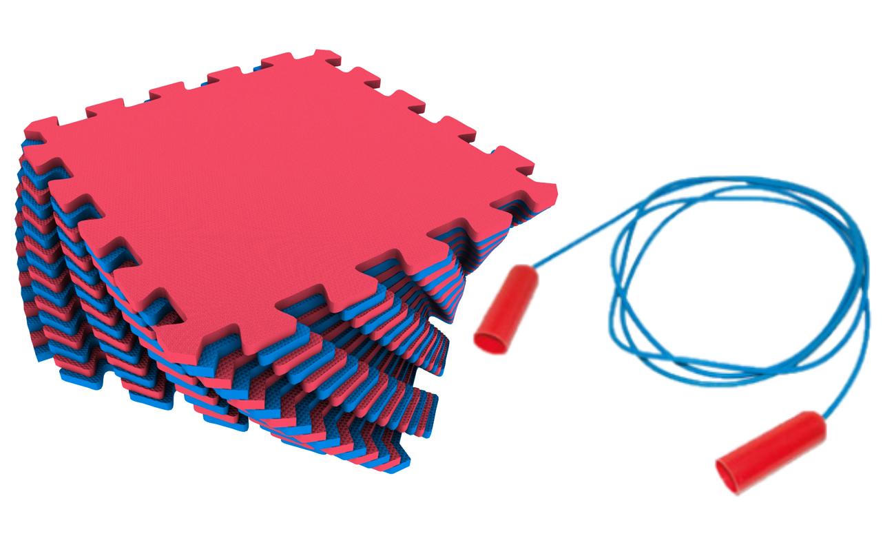 Мягкий пол универсальный Экопромторг красно синий 25x25
