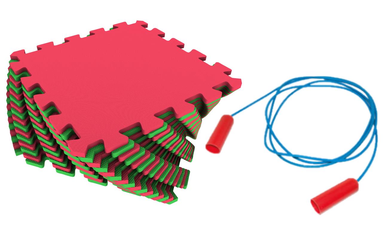 Мягкий пол универсальный Экопромторг красно зеленый 25x25