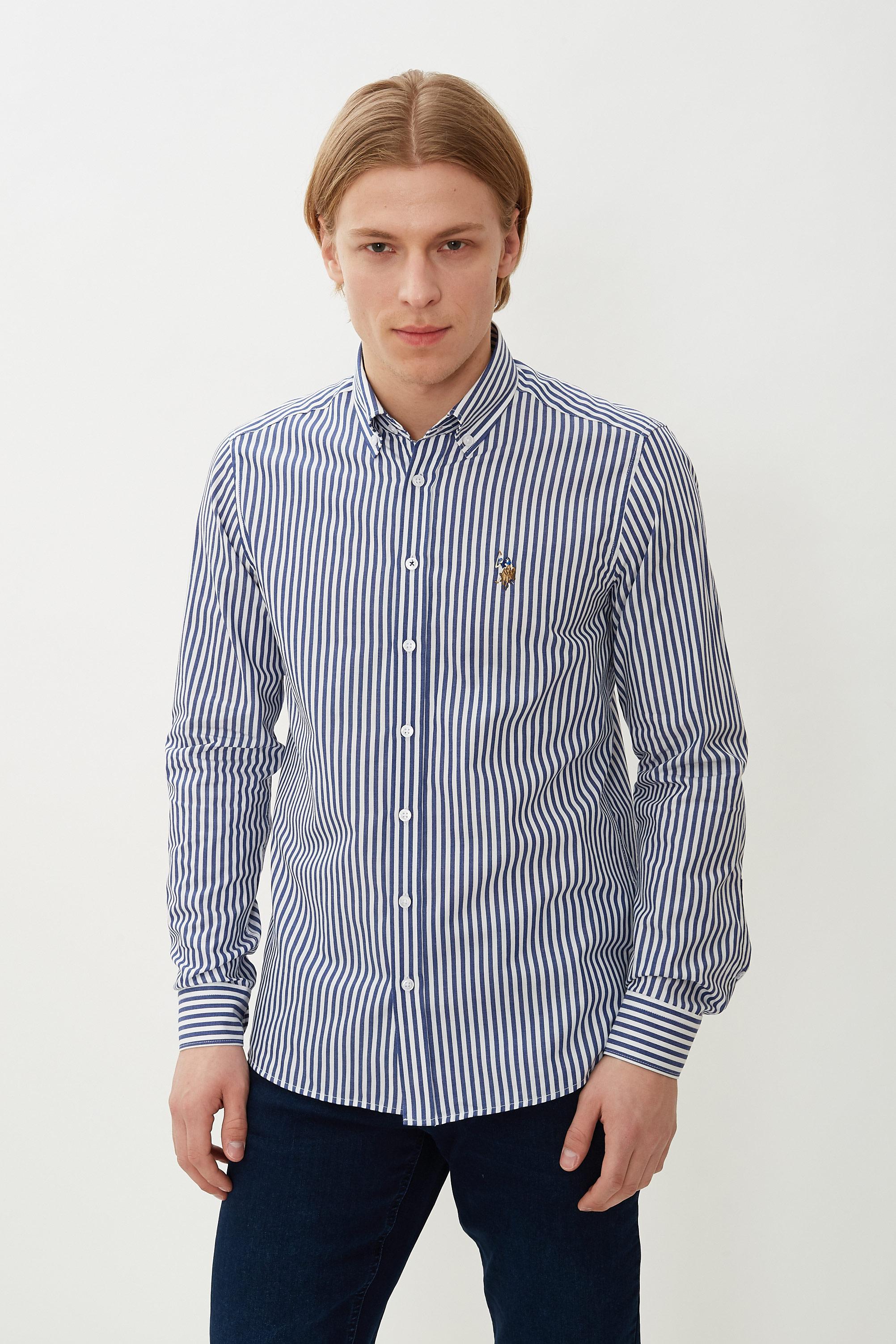 Рубашка мужская U.S. POLO Assn. G081GL0040HEVRA синяя L
