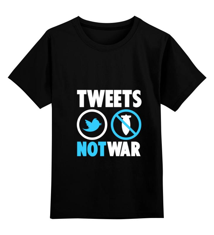 Купить 0000000752859, Детская футболка Printio Tweets not war цв.черный р.116,