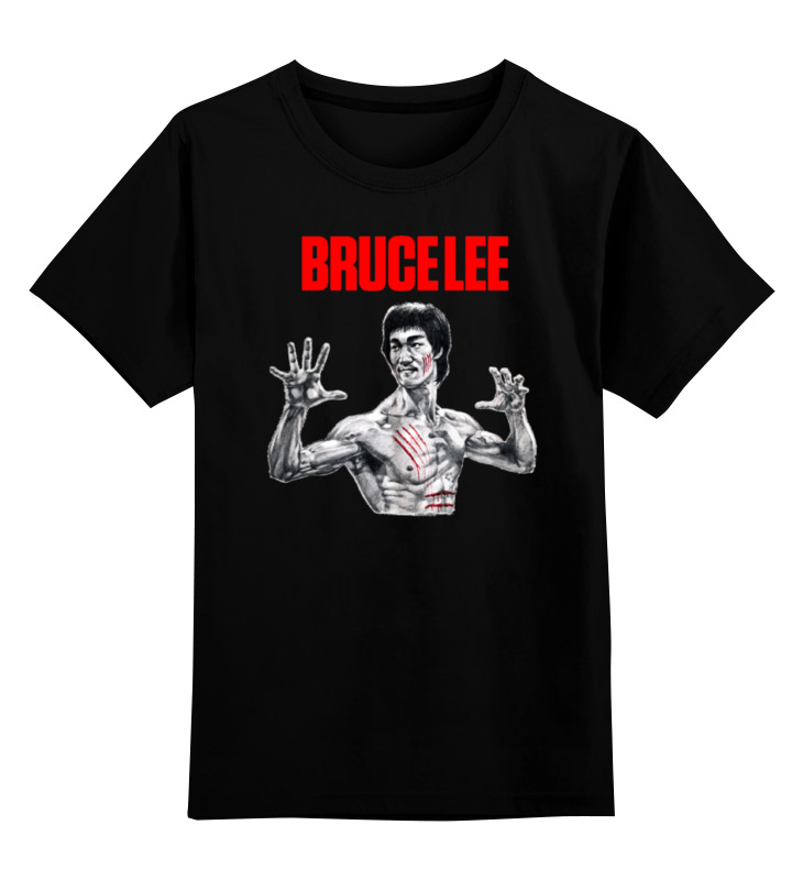 Купить 0000000759499, Детская футболка Printio Bruce lee цв.черный р.128,