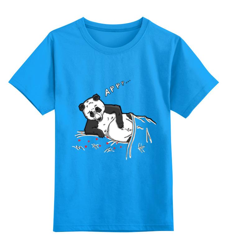 Купить 0000000753315, Детская футболка Printio Панда цв.голубой р.128,