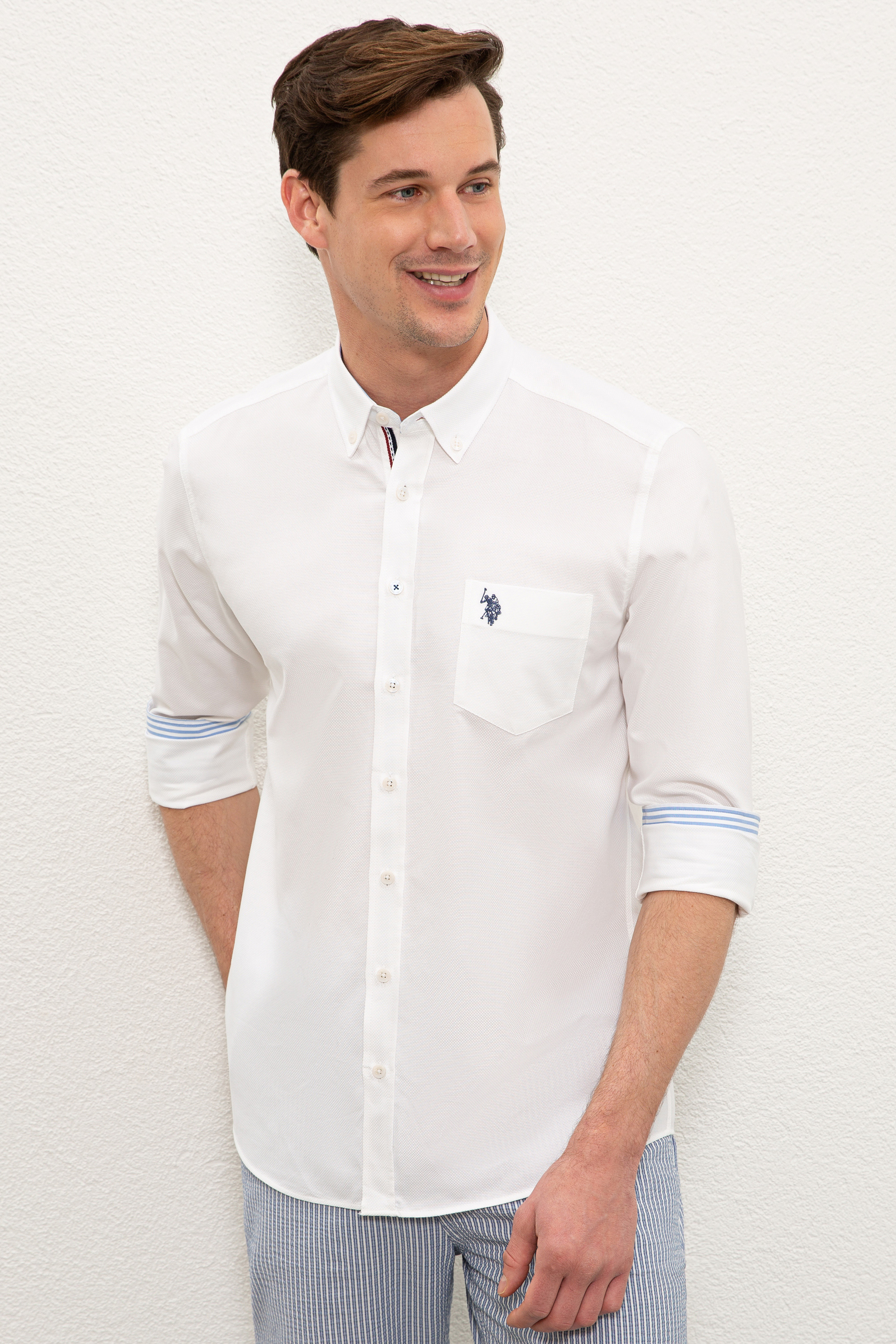 Рубашка мужская U.S. POLO Assn. G081SZ0040NOYARI021Y белая S