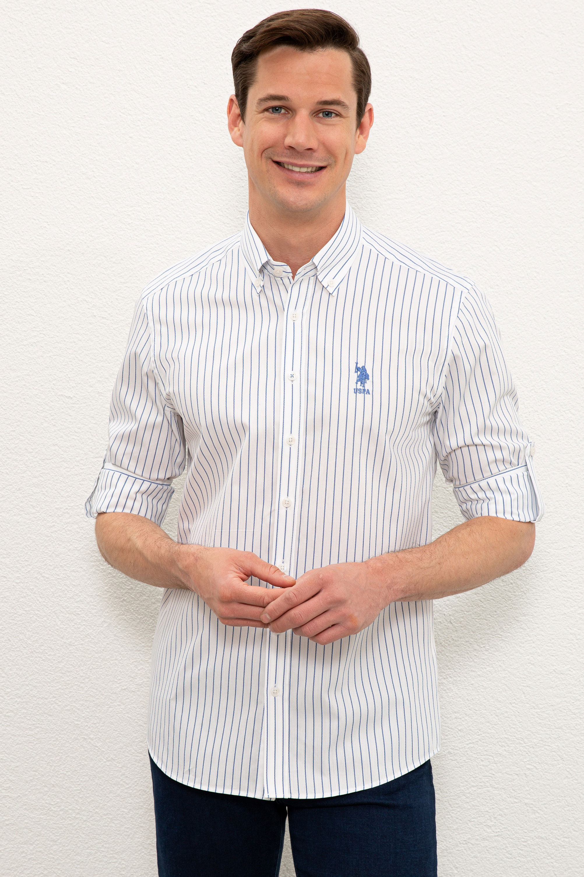 Рубашка мужская U.S. POLO Assn. G081SZ0040MELDEF белая M