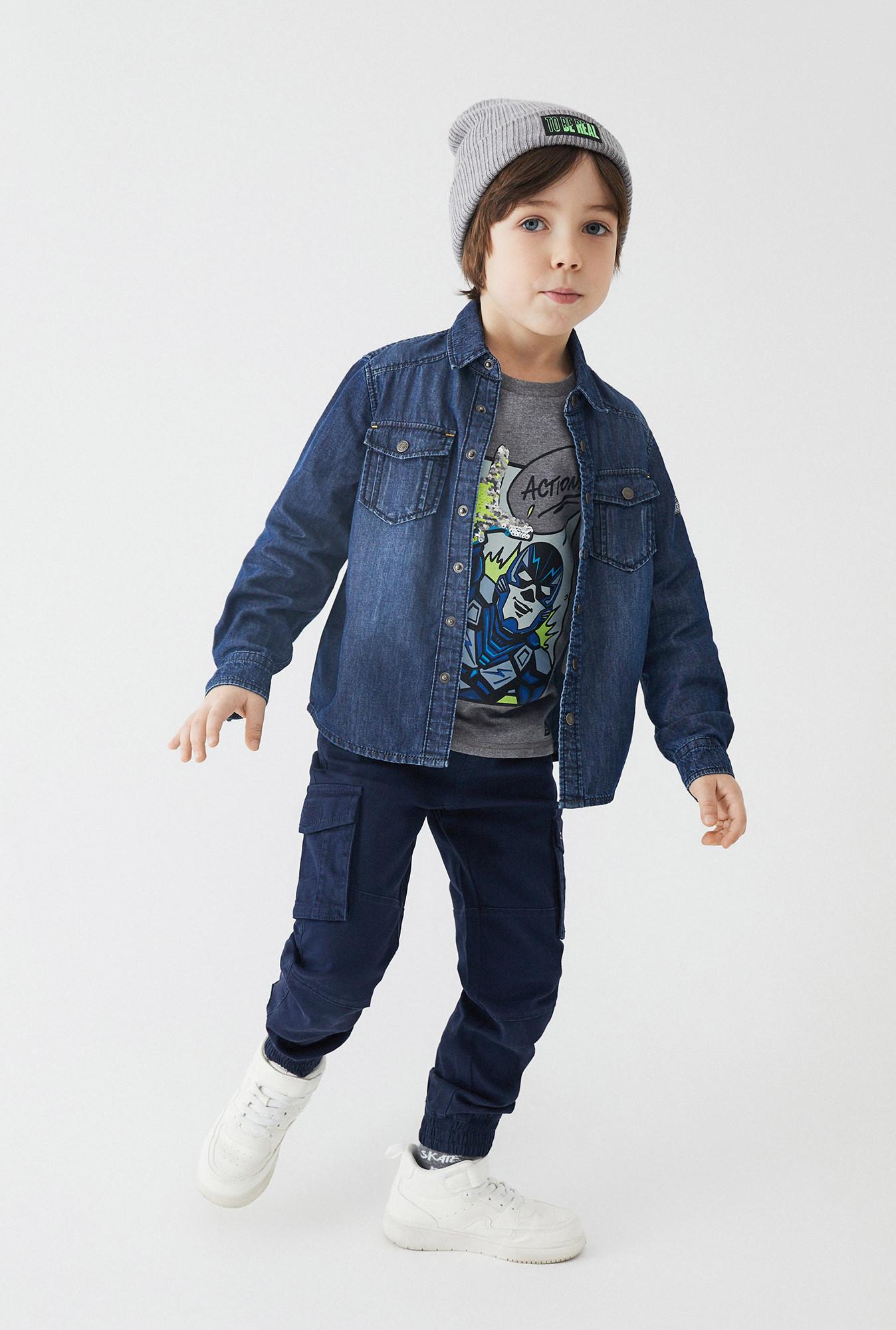 Джинсовая рубашка для мальчиков размер 122, темно-синий