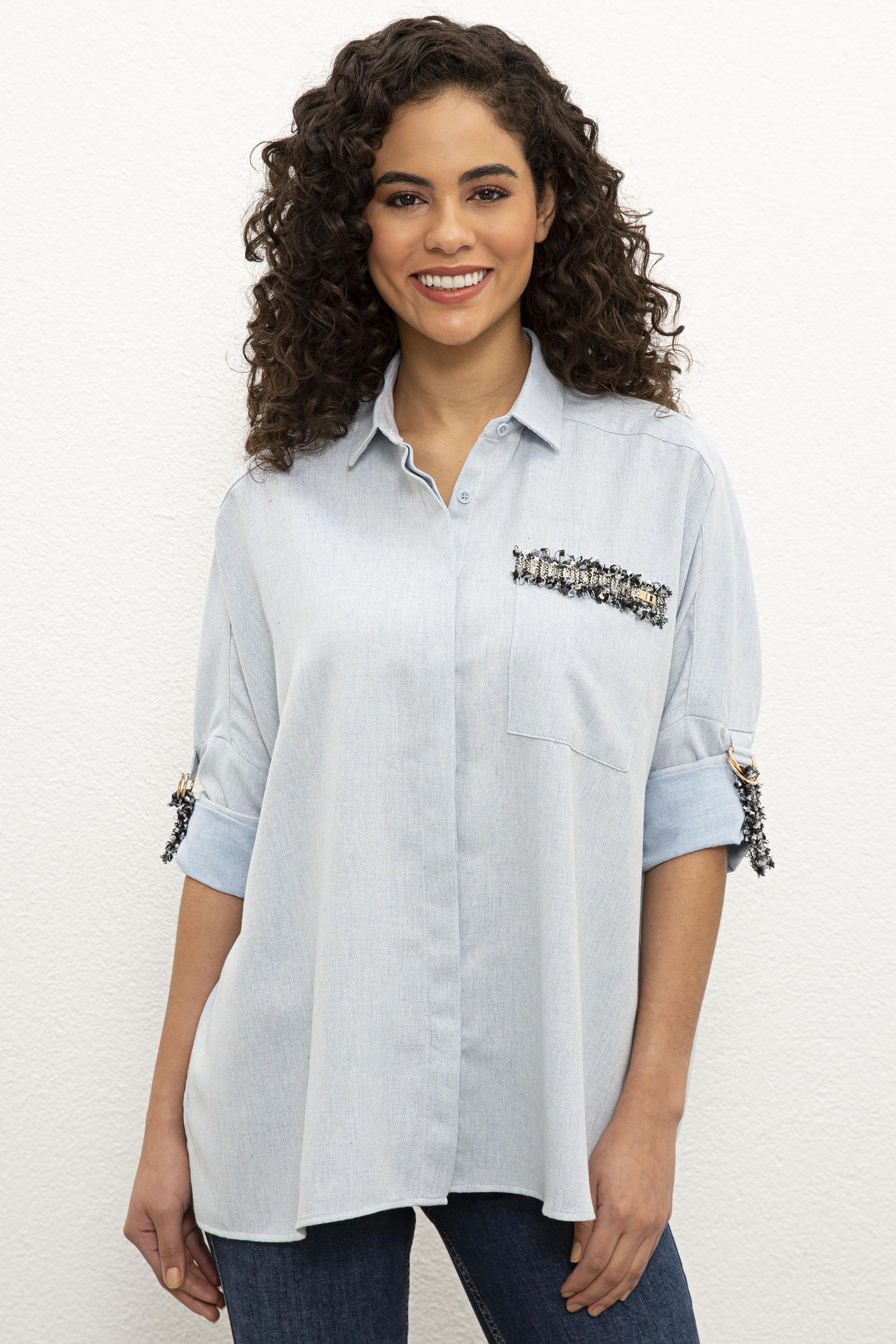 Рубашка женская U.S. POLO Assn. G082SZ0040ROMERE020K голубая 42