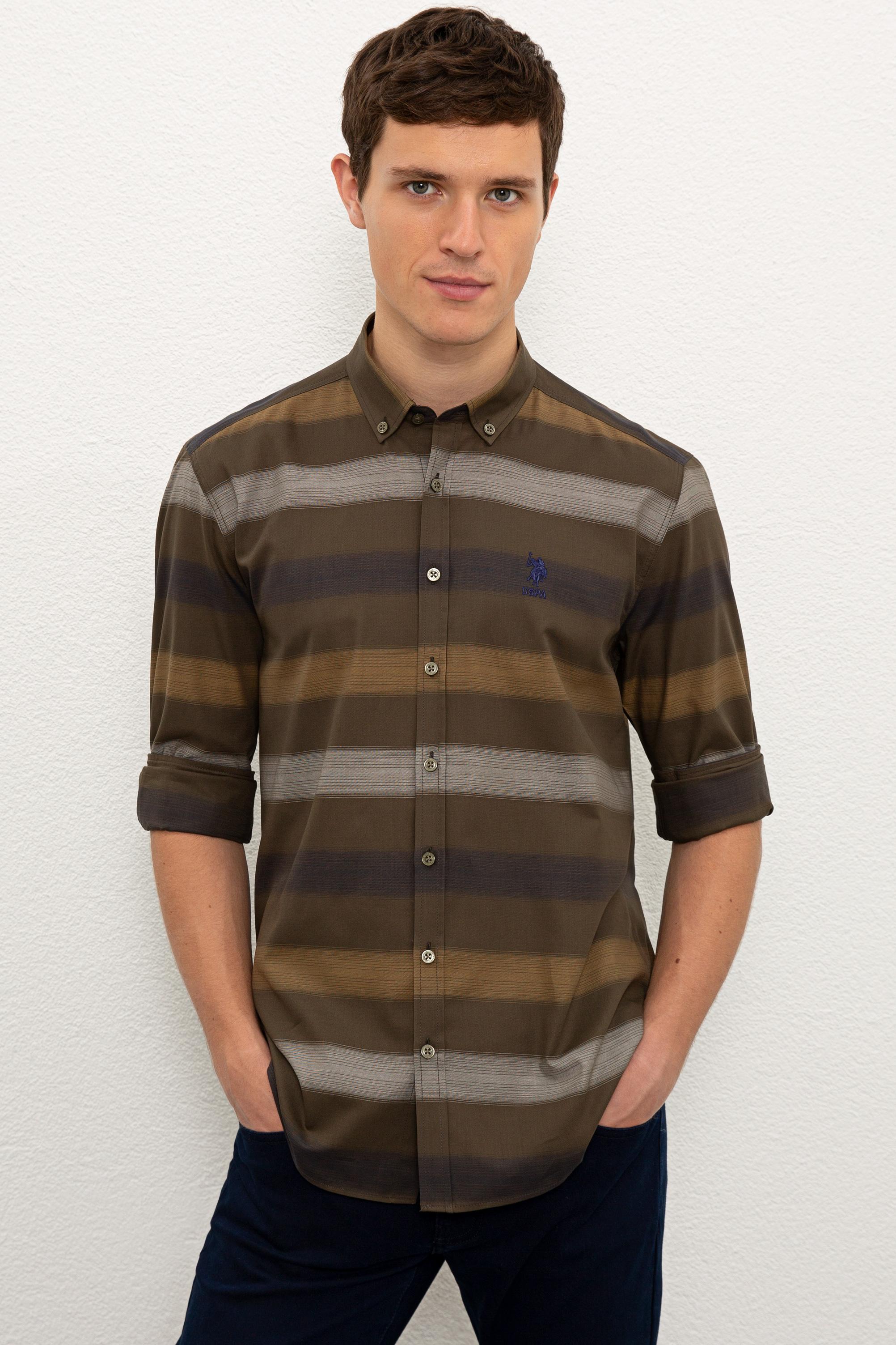 Рубашка мужская U.S. POLO Assn. G081GL0040TERPA хаки 2XL