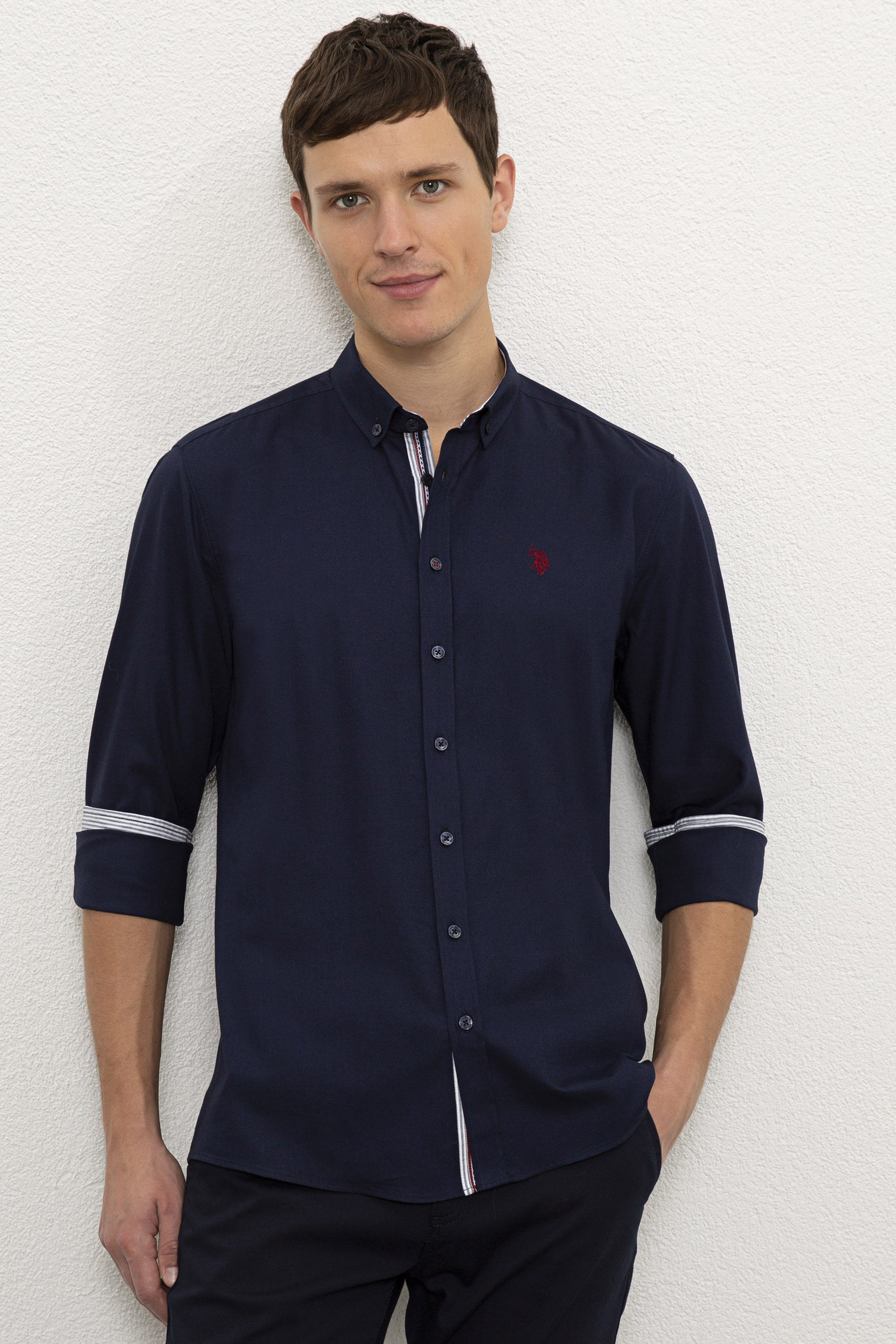 Рубашка мужская U.S. POLO Assn. G081SZ0040NOYARI020K синяя XS