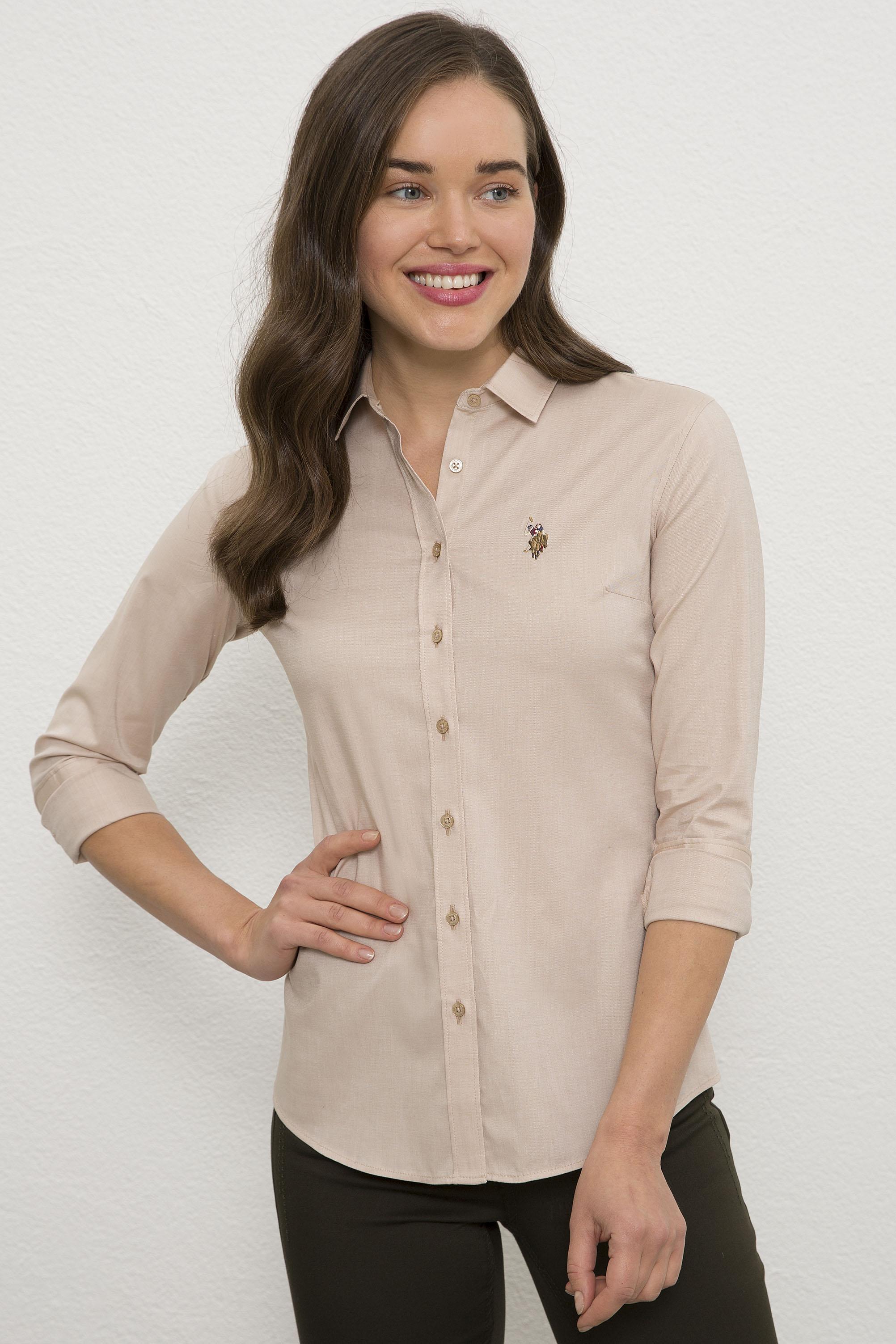 Рубашка женская U.S. POLO Assn. G082SZ0040CRISCOLOR020K бежевая 44