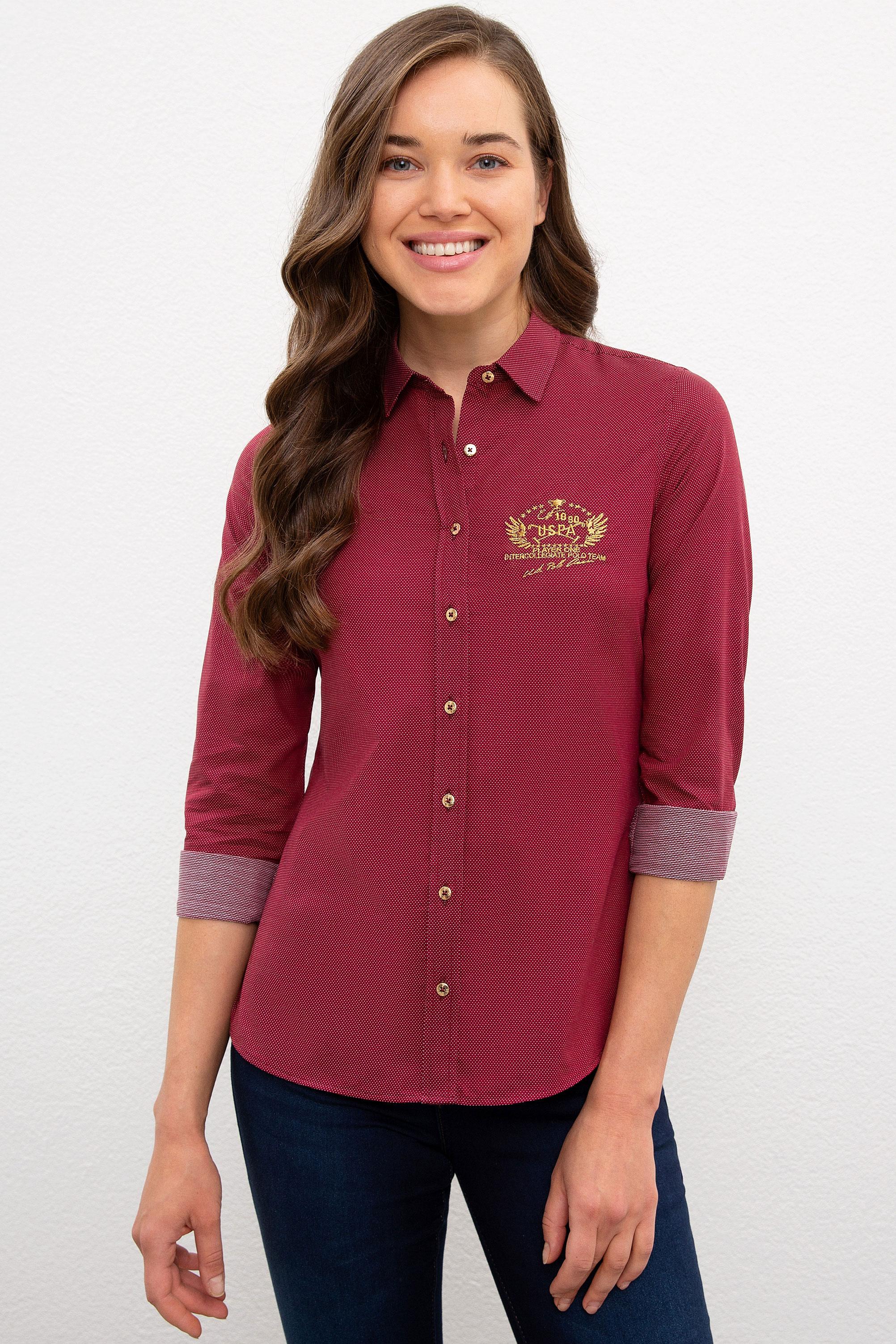 Рубашка женская U.S. POLO Assn. G082SZ0040SQUASH020K бордовая 42