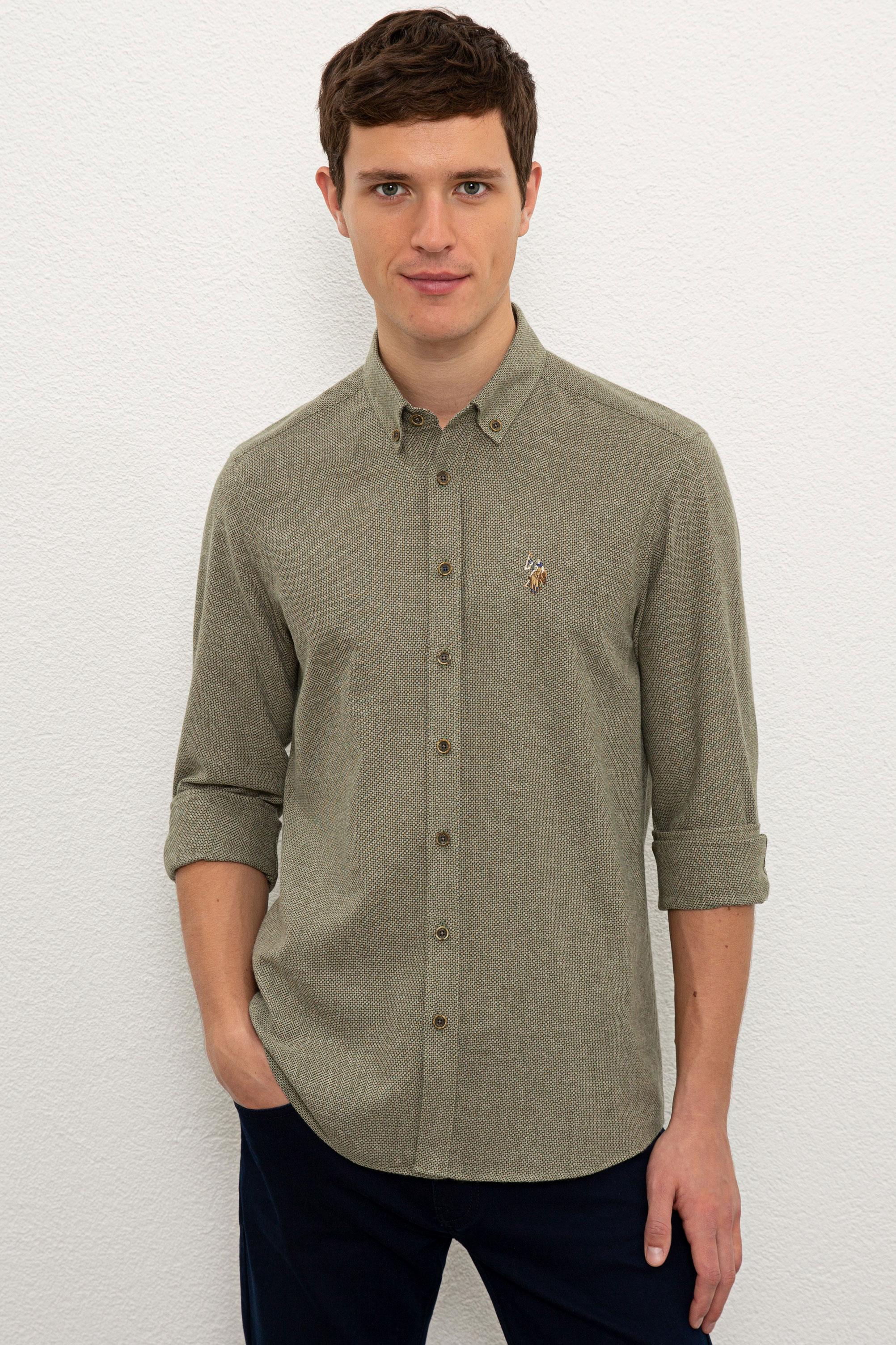 Рубашка мужская U.S. POLO Assn. G081SZ0040BORKEN хаки XL