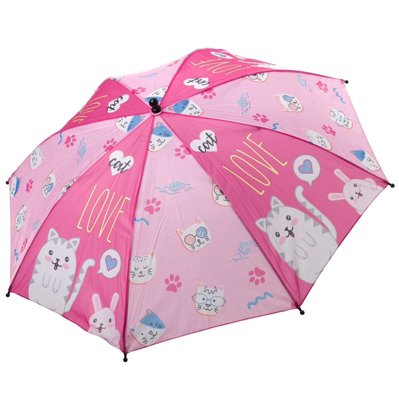 Автоматический детский зонт Bondibon Котята розовый,