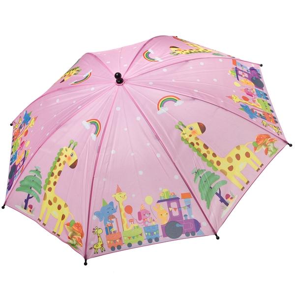 Автоматический детский зонт Bondibon Жирафики розовый,
