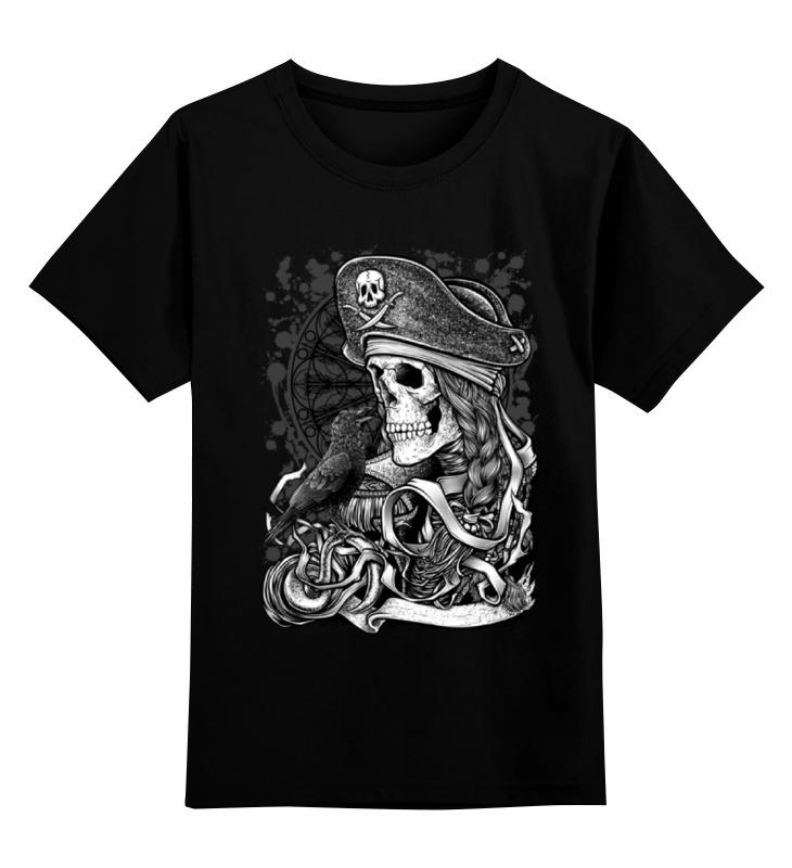 Купить 0000000755838, Детская футболка Printio Пират цв.черный р.140,